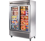"True TS-49FG 54.13"" Two Section Reach-In Freezer, (2) Glass Doors, 115v"
