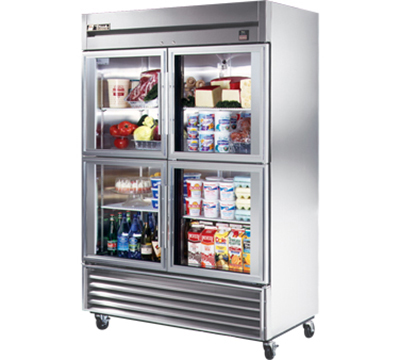 "True TS-49G-4 54"" Two Section Reach-In Refrigerator, (4) Glass Door, 115v"