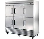 """True TS-72-6 78"""" Three Section Reach-in Refrigerator, (6) Solid Door, 115v"""