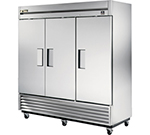 "True TS-72F 78.38"" Three Section Reach-In Freezer, (3) Solid Doors, 115v"
