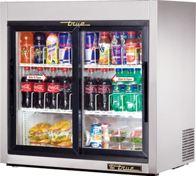 "True TSD-9G-LD 36"" Countertop Refrigeration w/ Front Access - Sliding Door, Stainless, 115v"
