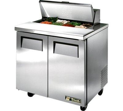 "True TSSU-36-8 36.38"" Sandwich/Salad Prep Table w/ Refrigerated Base, 115v"