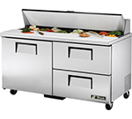 "True TSSU-60-16D-2 60"" Sandwich/Salad Prep Table w/ Refrigerated Base, 115v"