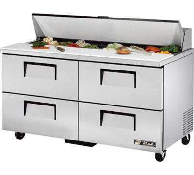 "True TSSU-60-16D-4 60.25"" Sandwich/Salad Prep Table w/ Refrigerated Base, 115v"