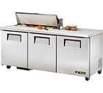 "True TSSU-72-10 72"" Sandwich/Salad Prep Table w/ Refrigerated Base, 115v"