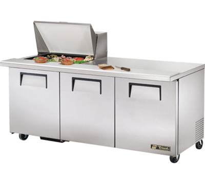 "True TSSU-72-12M-B 72"" Sandwich/Salad Prep Table w/ Refrigerated Base, 115v"