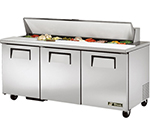 "True TSSU-72-18 72"" Sandwich/Salad Prep Table w/ Refrigerated Base, 115v"
