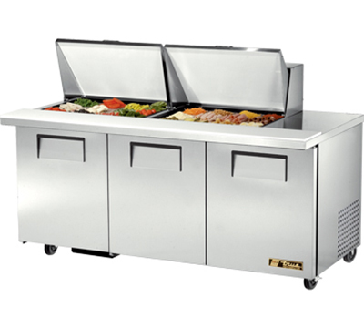 "True TSSU-72-24M-B-ST 72"" Sandwich/Salad Prep Table w/ Refrigerated Base, 115v"