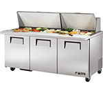 "True TSSU-72-30M-B-ST 72"" Sandwich/Salad Prep Table w/ Refrigerated Base, 115v"