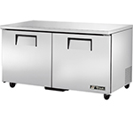 True TUC-60 15.5-cu ft Undercounter Refrigerator w/ (2) Sections & (2) Doors, 115v