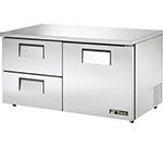 True TUC-60D-2-LP 15.5-cu ft Undercounter Refrigerator w/ (2) Sections, (2) Drawers & (1) Door, 115v