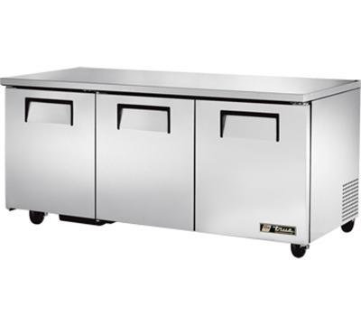 True TUC-72 19-cu ft Undercounter Refrigerator w/ (3) Sections & (3) Doors, 115v