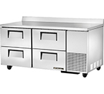 "True TWT-67D-4 67.25"" Work Top Refrigerator w/ (2) Sections & (4) Drawers, 115v"