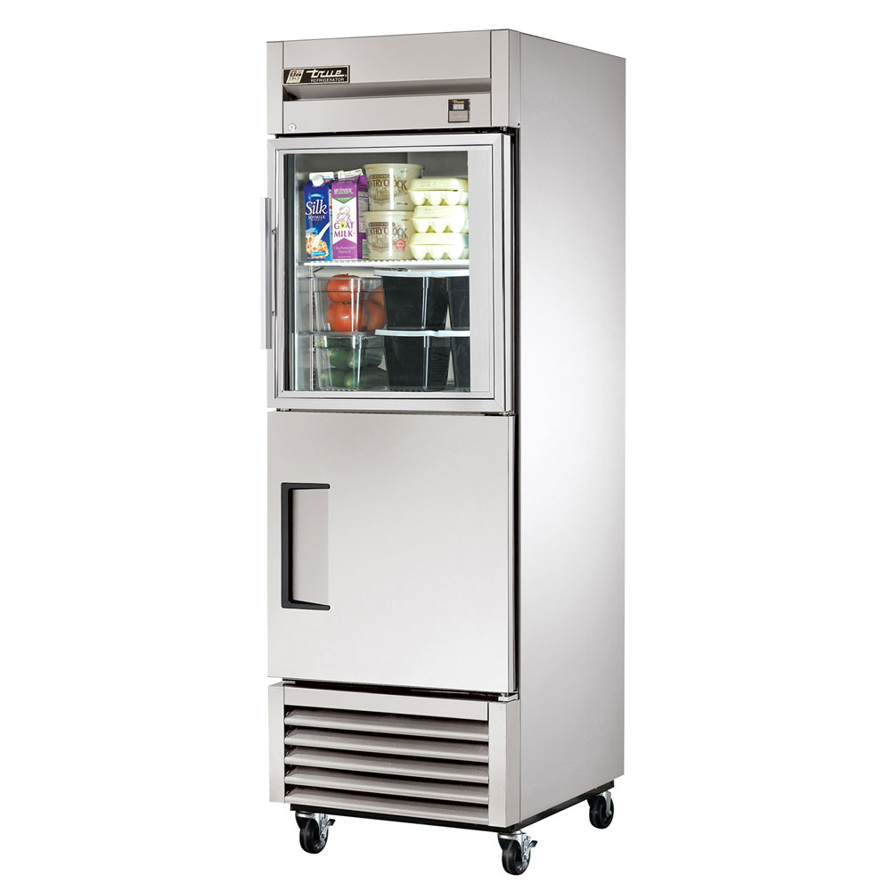 "True TS-23-1-G-1 27"" Single Section Reach-In Refrigerator, (1) Solid Door, (1) Glass Door, 115v"