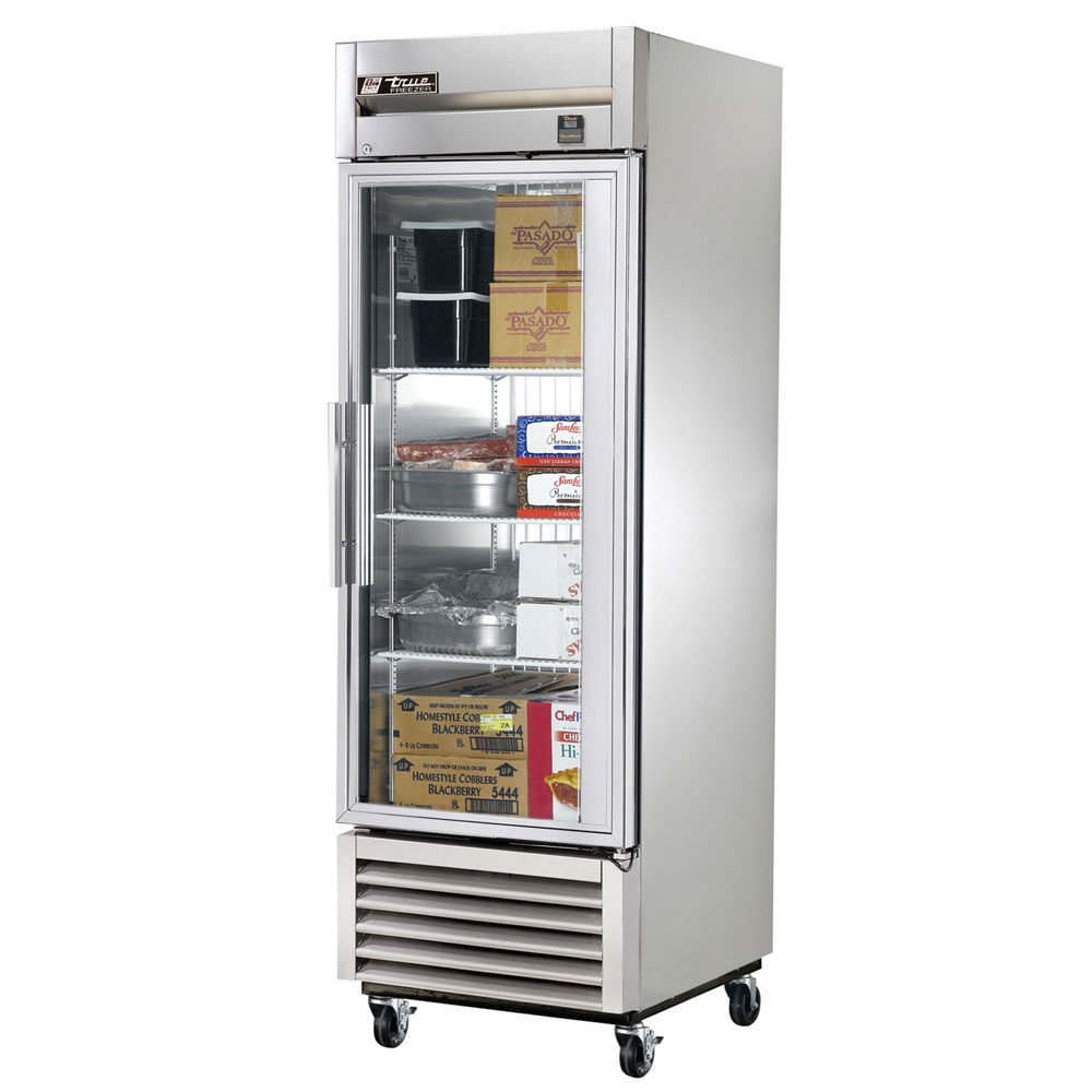 "True TS-23FG 27"" Single Section Reach-In Freezer, (1) Glass Door, 115v"