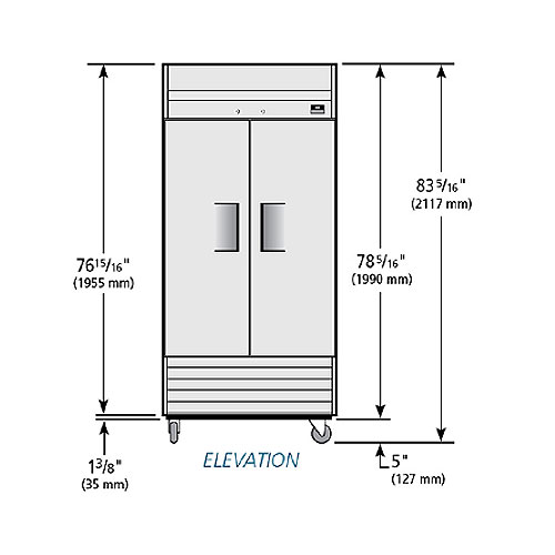 "True TS-35 39.5"" Two Section Reach-In Refrigerator, (2) Solid Door, 115v"