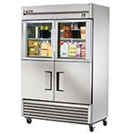"True TS-49-2-G-2-LD 54"" Two Section Reach-In Refrigerator, (2) Glass Door & (2) Solid Door, 115v"