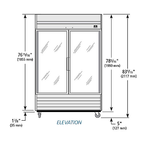 """True TS-49FG-LD 54.13"""" Two Section Reach-In Freezer, (2) Glass Doors, 115v"""
