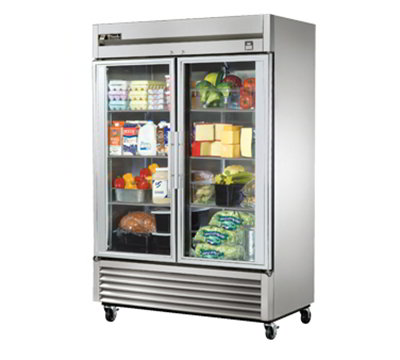 "True TS-49G-LD 54.13"" Two Section Reach-In Refrigerator, (2) Glass Door, 115v"