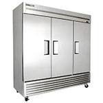 "True TS-72 78"" Three Section Reach-In Refrigerator, (3) Solid Door, 115v"