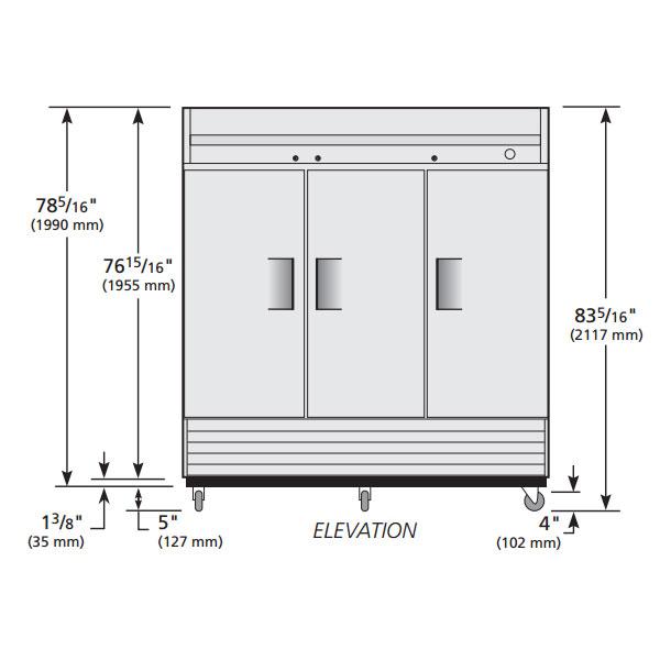 "True TS-72F-HC 78.38"" Three Section Reach-In Freezer, (3) Solid Doors, 115v"