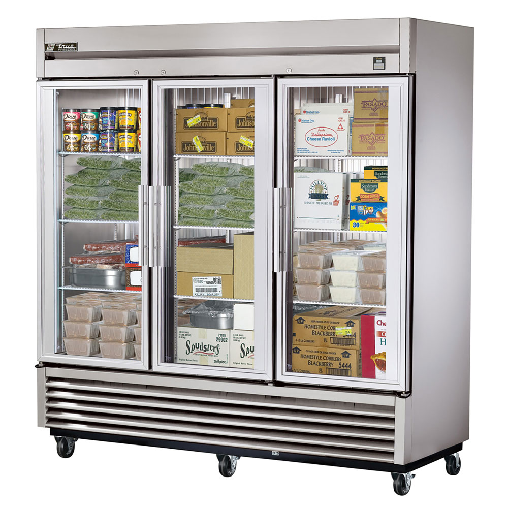 "True TS-72FG 78.13"" Three Section Reach-In Freezer, (3) Glass Door, 115/208-230v/1ph"