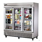 "True TS-72G 78"" Three Section Reach-In Refrigerator, (3) Glass Door, 115v"