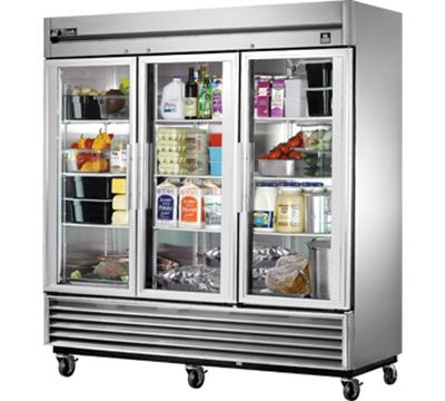 """True TS-72G-LD 78"""" Three Section Reach-In Refrigerator, (3) Glass Door, 115v"""