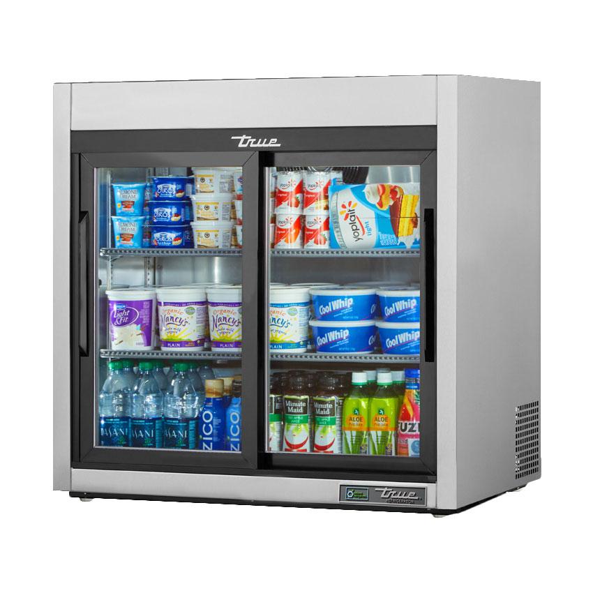 "True TSD-09G-HC-LD 36"" Countertop Refrigerator w/ Front Access - Sliding Doors, Stainless, 115v"