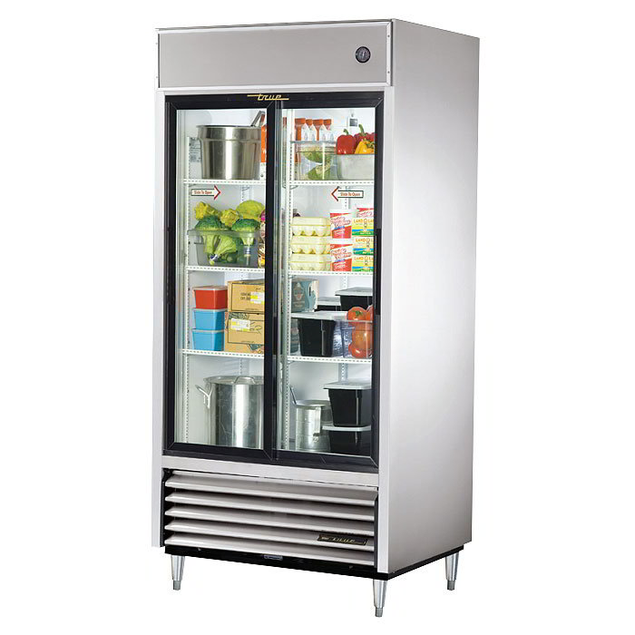 "True TSD-33G-LD 39.5"" Two Section Reach-In Refrigerator, (2) Glass Door, 115v"