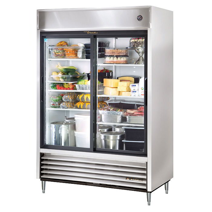 "True TSD-47G-LD 54"" Two Section Reach-In Refrigerator, (2) Glass Door, 115v"