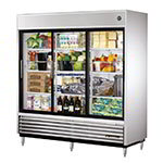 "True TSD-69G-LD 78"" Three Section Reach-In Refrigerator, (3) Glass Door, 115v"