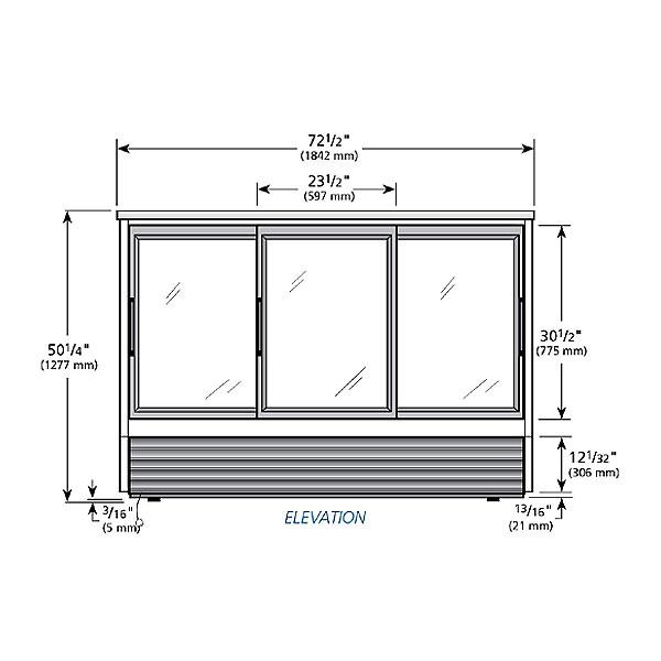 """True TSID-72-6 72"""" Self Service Deli Case w/ Straight Glass - (3) Levels, 115v"""