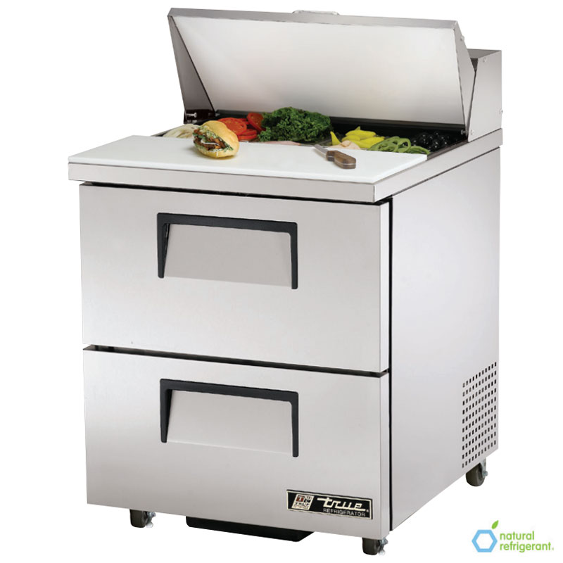 "True TSSU-27-8D-2 27"" Sandwich/Salad Prep Table w/ Refrigerated Base, 115v"