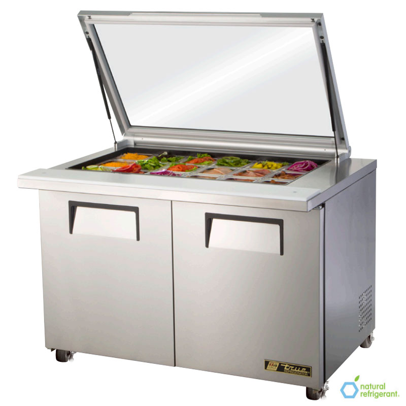 "True TSSU-48-18M-B-FGLID-HC 48"" Sandwich/Salad Prep Table w/ Refrigerated Base, 115v"