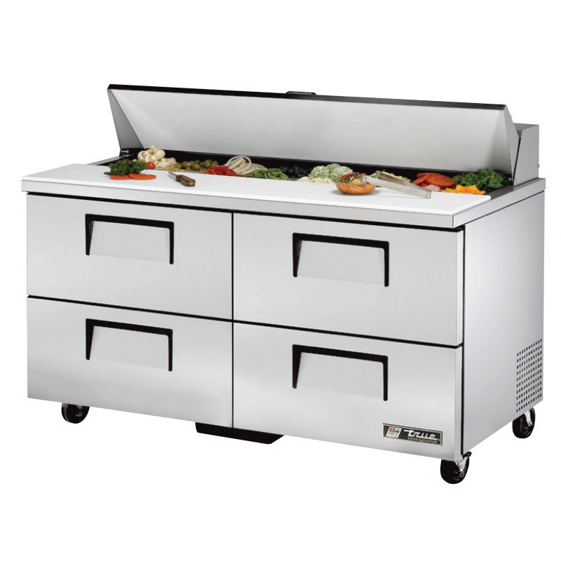 "True TSSU-60-16D-4 60"" Sandwich/Salad Prep Table w/ Refrigerated Base, 115v"