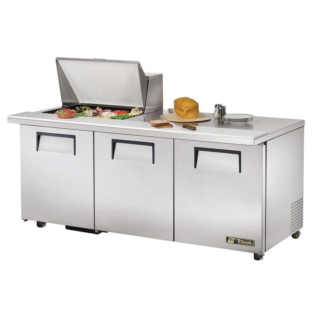"True TSSU-72-12M-BADA 72"" Sandwich/Salad Prep Table w/ Refrigerated Base, 115v"