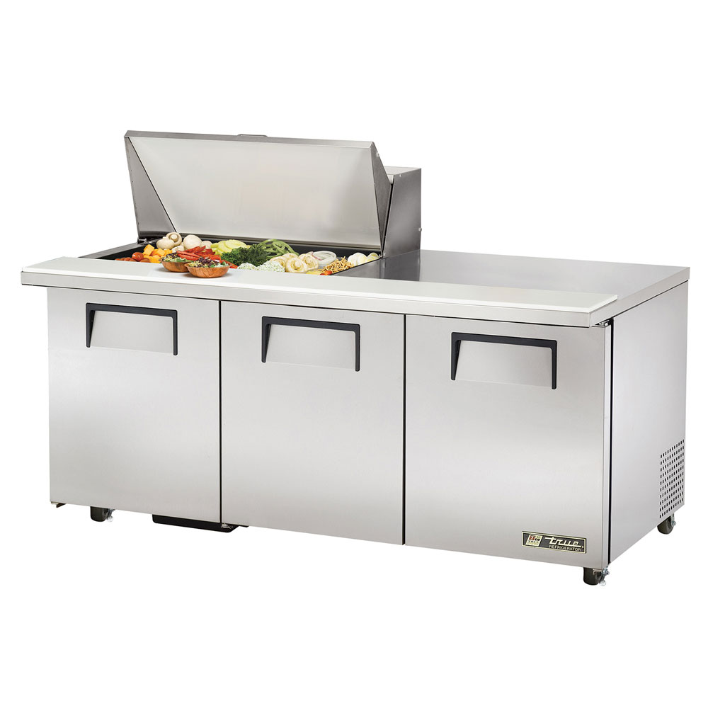 "True TSSU-72-15M-B 72.38"" Sandwich/Salad Prep Table w/ Refrigerated Base, 115v"