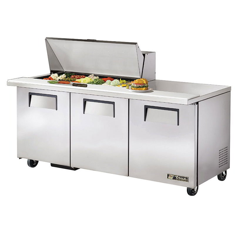 "True TSSU-72-18M-B 72"" Sandwich/Salad Prep Table w/ Refrigerated Base, 115v"