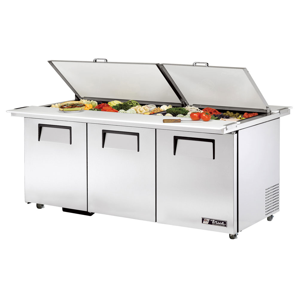 "True TSSU-72-30MBDSST 72"" Sandwich/Salad Prep Table w/ Refrigerated Base, 115v"