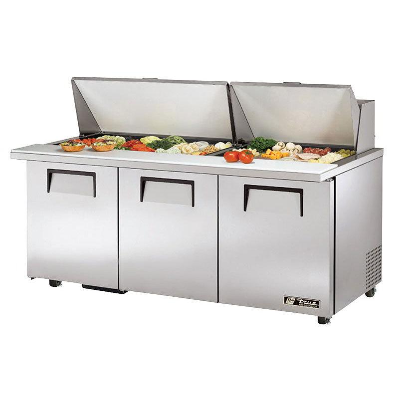 "True TSSU-72-30M-B-ST-ADA 72"" Mega Top 3-door Sandwich / Salad Prep Table w/ Refrigerated Base - ADA Height, 115V"