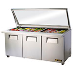 "True TSSU-72-30M-B-ST-FGLID 72.38"" Sandwich/Salad Prep Table w/ Refrigerated Base, 115v"