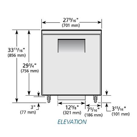 True TUC-27-ADA-HC 6.5-cu ft Undercounter Refrigerator w/ (1) Section & (1) Door, 115v
