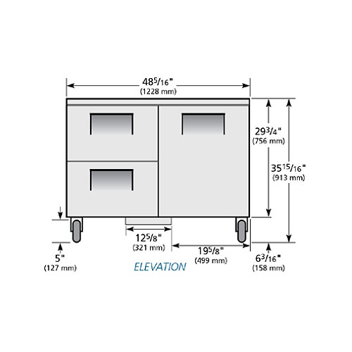 True TUC-48D-2-HC 12-cu ft Undercounter Refrigerator w/ (2) Sections, (2) Drawers & (1) Door, 115v