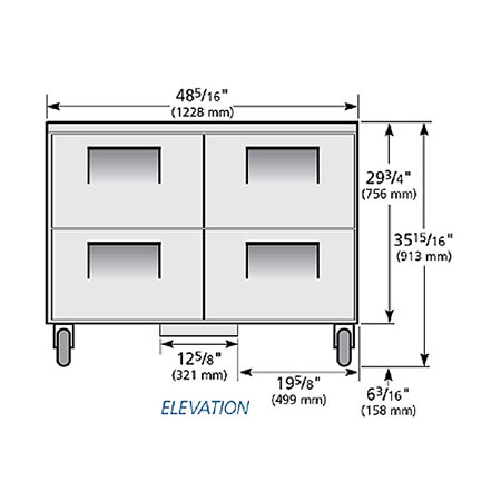 True TUC-48F-D-4-HC 12-cu ft Undercounter Freezer w/ (4) Sections & (4) Drawers, 115v