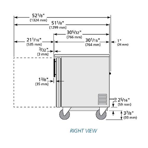 True TUC-48G-HC~FGD01 12-cu ft Undercounter Refrigerator w/ (2) Sections & (2) Doors, 115v