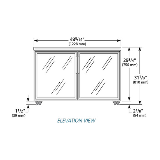 True TUC-48G-LP-HC~FGD01 12-cu ft Undercounter Refrigerator w/ (2) Sections & (2) Doors, 115v