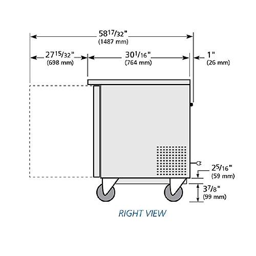 True TUC-60-HC 15.5-cu ft Undercounter Refrigerator w/ (2) Sections & (2) Doors, 115v