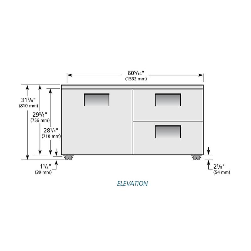 True TUC-60D-2-LP-HC 15.5-cu ft Undercounter Refrigerator w/ (2) Sections, (2) Drawers & (1) Door, 115v