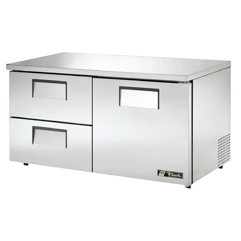 True TUC-60D-2-LP-HC 15.5-cu ft Undercounter Refrigerator w/ (2) Sections, (2) Drawers & (1) Door, 115v